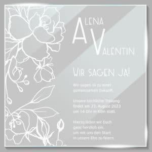 Acrylglas Einladung Blumen 190204