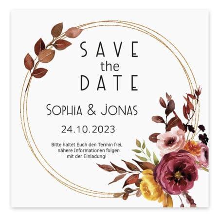 Weitere Informationen zur Save the Date Karte Herbst Bordeaux 19402: Format: 120 mm x 120mm Schimmerpapier inkl. Umschlag in weiß/creme
