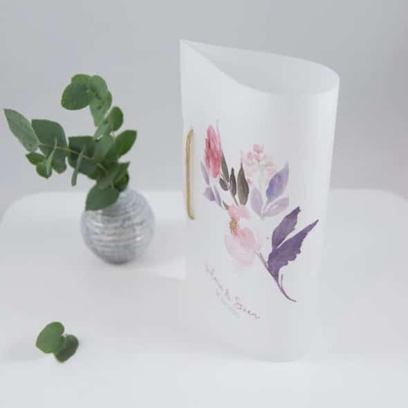 Menükarte transparent Flowerpower 170814