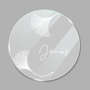 Acrylglas Namensschild rund Ginkgo 1902411