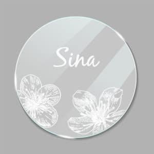 Acrylglas Namensschild rund Kirschblüte 190247