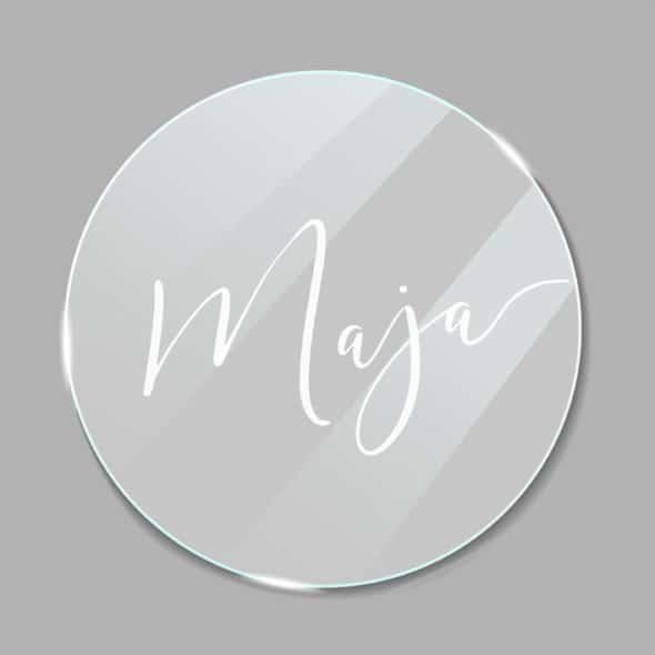 Acrylglas Namensschild rund Vintage 190249