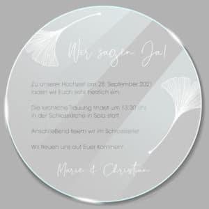 Acrylglas rund Einladung Ginkgo 1902511