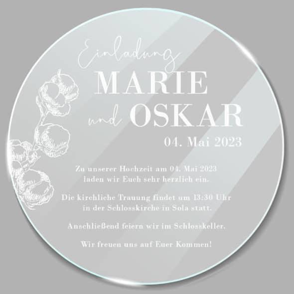 Acrylglas rund Einladung Cotton 1902513