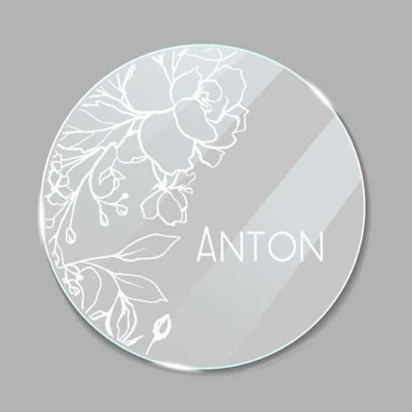 Acrylglas Namensschild rund Blumen 190254