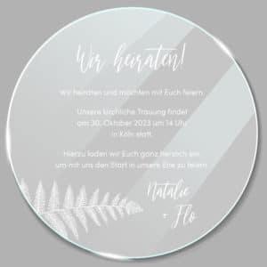 Acrylglas rund Einladung Farn 190256