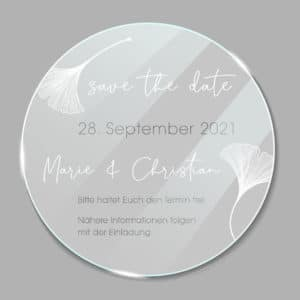 Acrylglas rund Save the Date Ginkgo 1902611