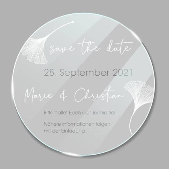Acrylglas rund Save the Date Ginkgo 1902611