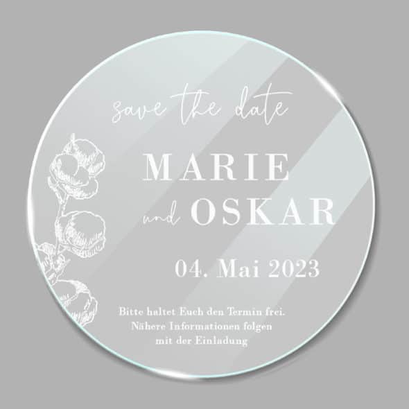Acrylglas rund Save the Date Cotton 1902613
