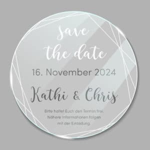 Acrylglas rund Save the Date Linien 190275