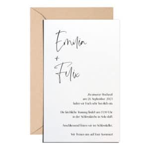 Classy Einladung mit braunem Umschlag