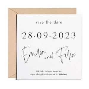 Classy Save the Date mit braunem Umschlag
